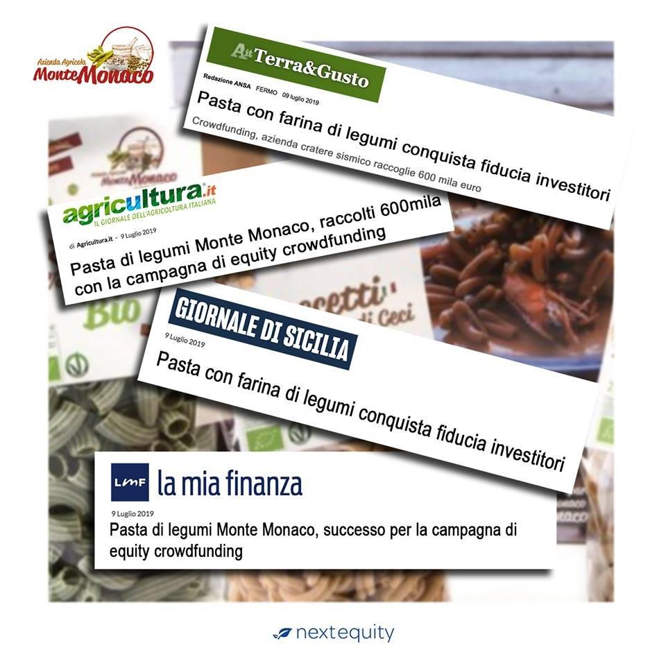 La pasta che conquista la fiducia degli investitori. Monte Monaco ha raccolto 600.000 € con un 300% di overfunding.