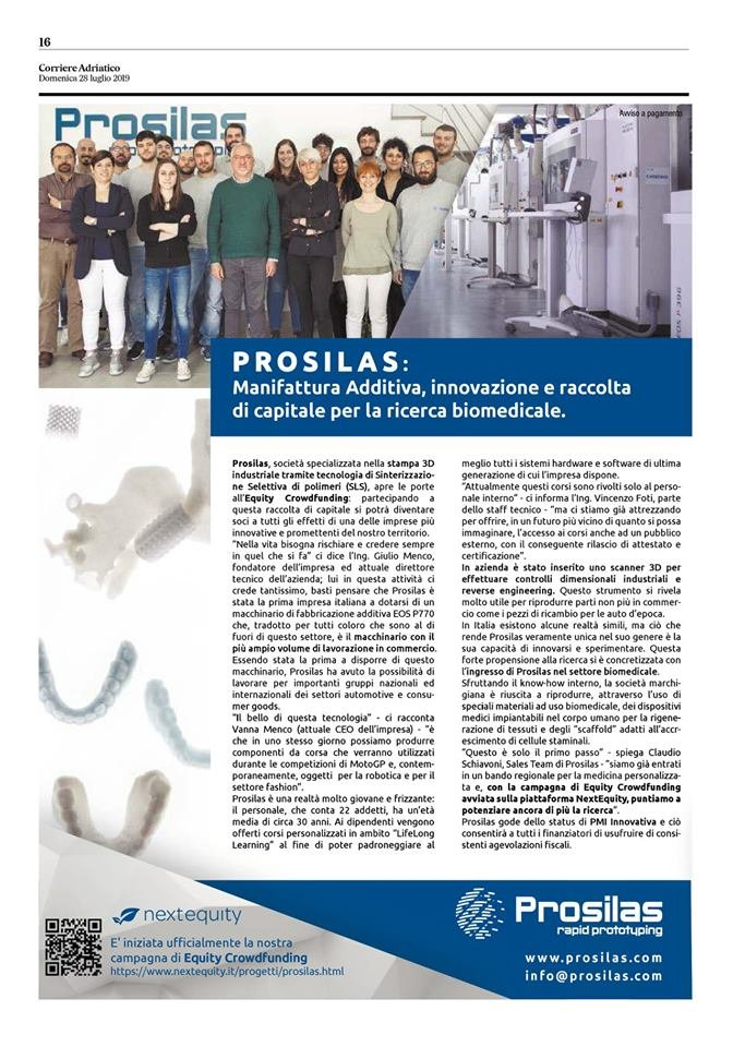 Crowdfunding a sostegno di Prosilas Rapid Prototyping
